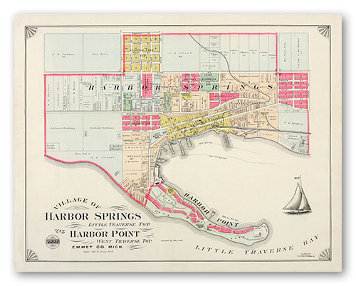 Harbor Springs Plat Map Poster